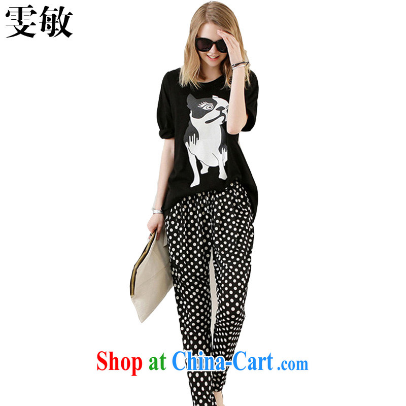 Wen Min 2015 summer new cartoon Leisure package the code women 9039 black 9039 XXXL