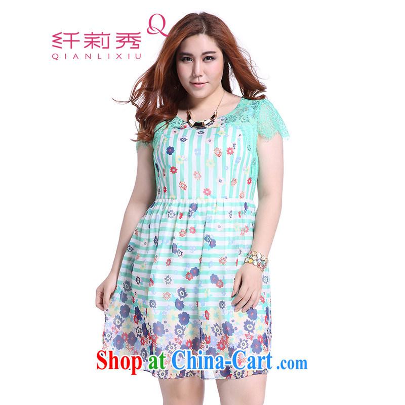 Slim LI Sau female summer maximum code XL dresses Korean fashion beauty lace spell series skirts Q 3901 green XXXL