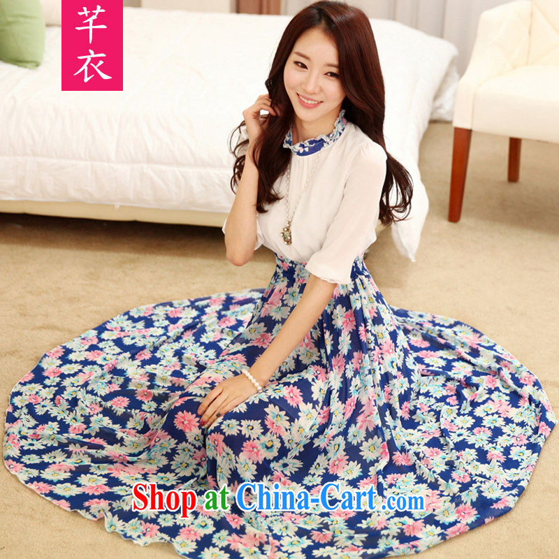 Constitution Yi XL women long skirt new 2015 the waist graphics thin floral bohemian beach skirts thick mm seaside resort snow skirt woven dresses blue 4 XL 160 - 175 jack