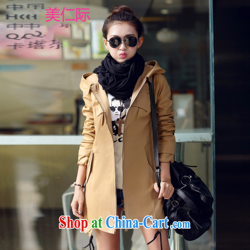 The US, in 2014 the new spring loaded the Code women Beauty Fashion style thick sister long women, wind jacket MY 88,762 khaki XXXL