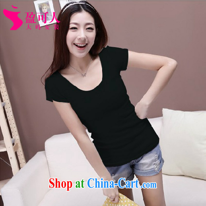 surplus to Korean version of the greater code female summer mm thick loose solid shirt girls thick sister graphics thin large code short-sleeved T pension flows increase code can be done XXXXX black XXXXXL - tailored
