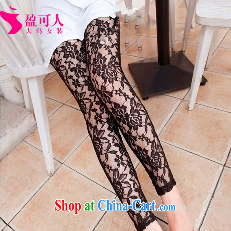 Surplus may 2014 new spring and summer, the female pants sexy lace stitching solid pants thick mm Through castor pants graphics thin female pants xxxxl black XXXXL - Support the code
