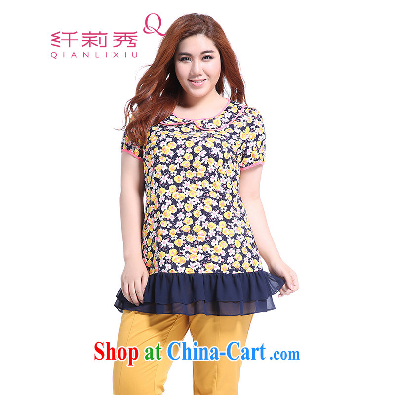 Slim Li Su-summer new, larger female temperament stamp doll collar stitching snow woven flouncing T-shirt Q 5037 fancy XL