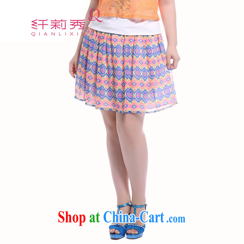 Slim Li-su summer 2014 new large, female retro stamp pattern 100 snow ground woven body skirt Q 5191 red XXXXXL