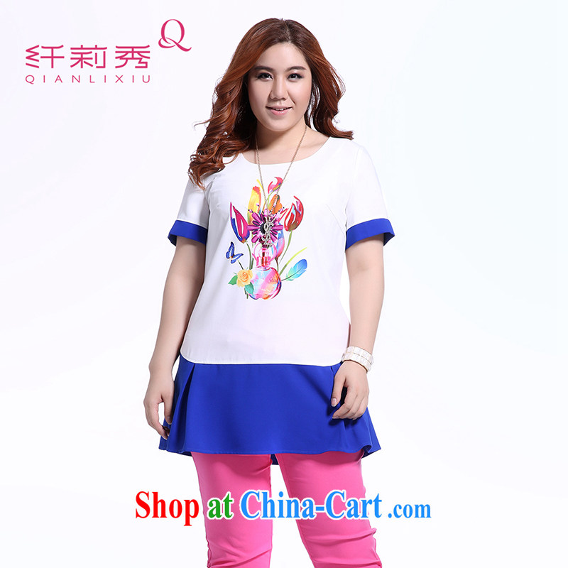 Slim Li-su summer 2014 new larger female 100 ground round-collar hit color stitching colorful stamp short-sleeved snow woven shirts Q 5507 color blue XXXL