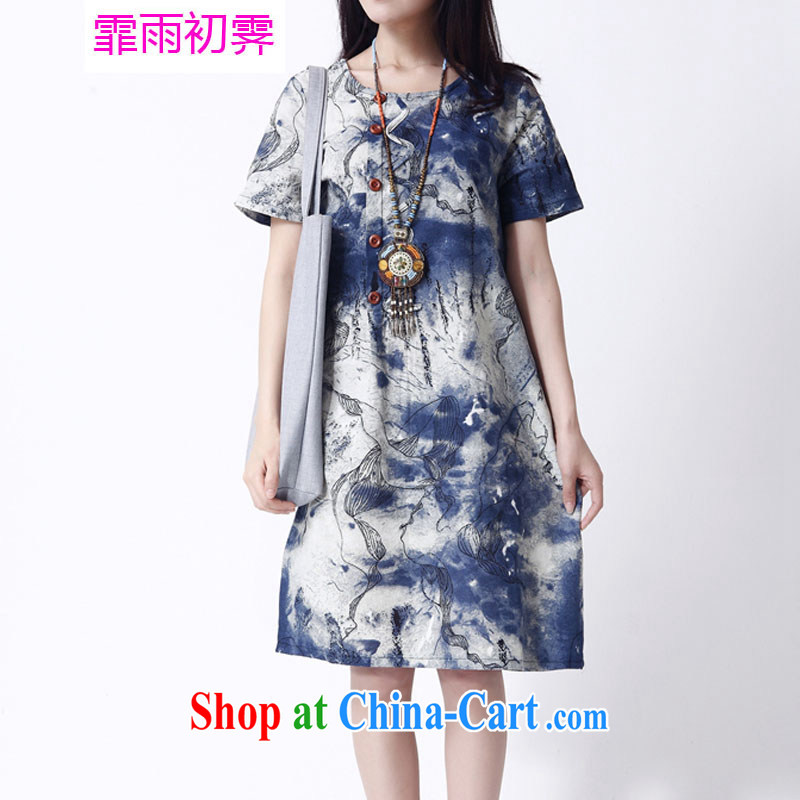 Onpress International Rain underglaze early summer 2015 New Sum girls of leisure loose the code female ink stamp duty cotton Ma dresses F 655 photo color XL