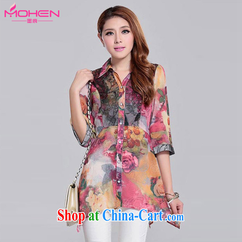 The ink marks on 2015 mm and indeed increase, female autumn new Korean version, long, irregular, with snow woven shirts female lapel 7 T-shirt red floral XXL