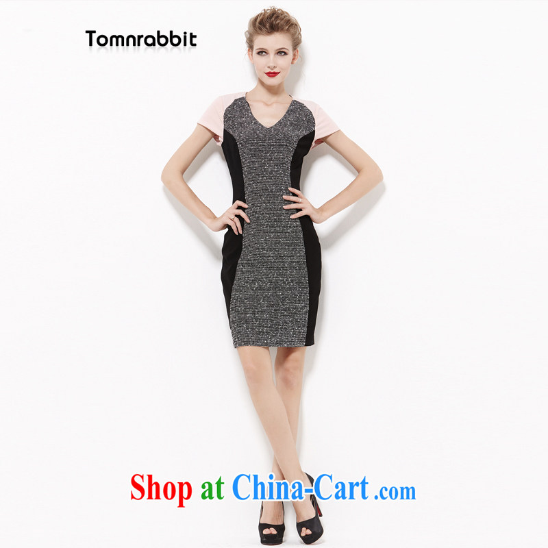 2014 Tomnrabbit new Europe and indeed the larger female professional cotton Silk Dresses fat people graphics thin, summer B 14 259 photo color XXXL