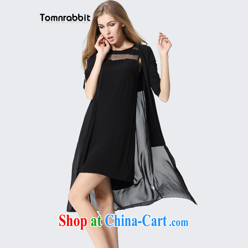 2014 Tomnrabbit in Europe and America, new summer wear large, snow-woven shirts for women fall long-sleeved with thin coat shawl B 14 183 black XXXL