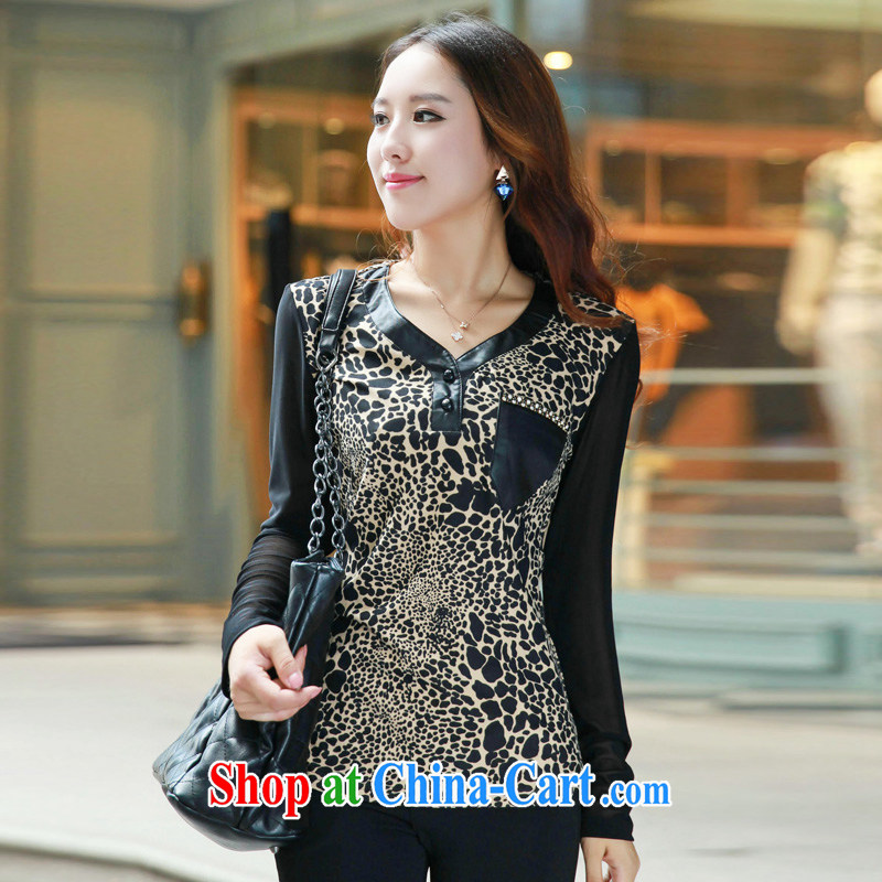 Autumn 2014 the Korean version thick MM XL ladies' long-sleeved beauty graphics thin stylish Leopard T solid shirt shirts white XXXXL