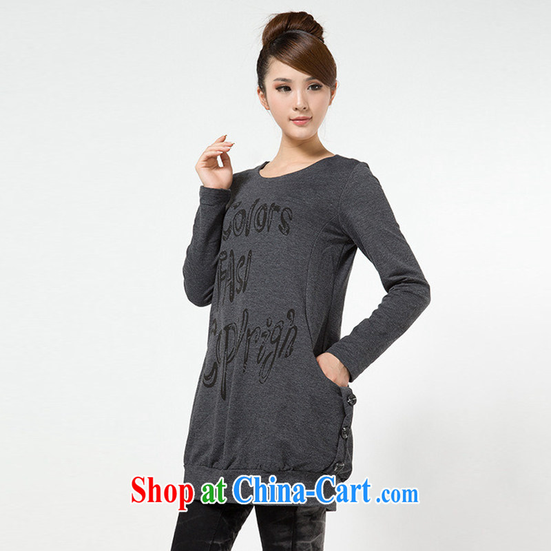 Autumn 2014, mm thick larger female Korean thick MM spring loaded long-sleeved long T shirt graphics thin clothes on a Pocket dark gray XXXL
