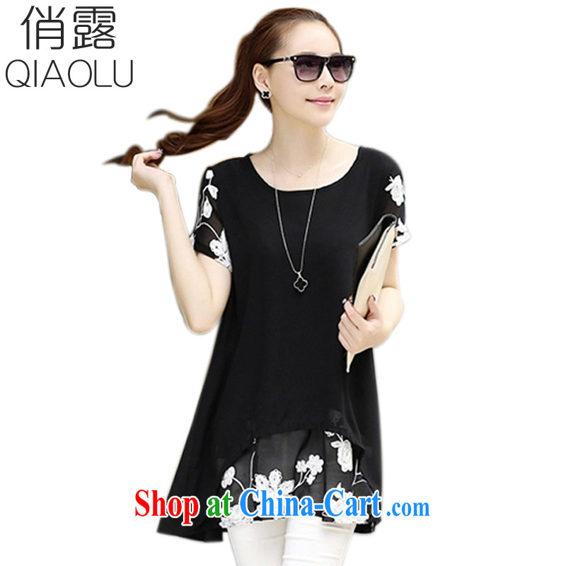 terrace for summer 2015 with a short-sleeved clothes snow woven shirts thick MM larger women's clothing dresses 266 black XXXL