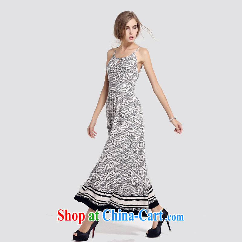 Cotton silk floral strap dress summer picture color XXXL