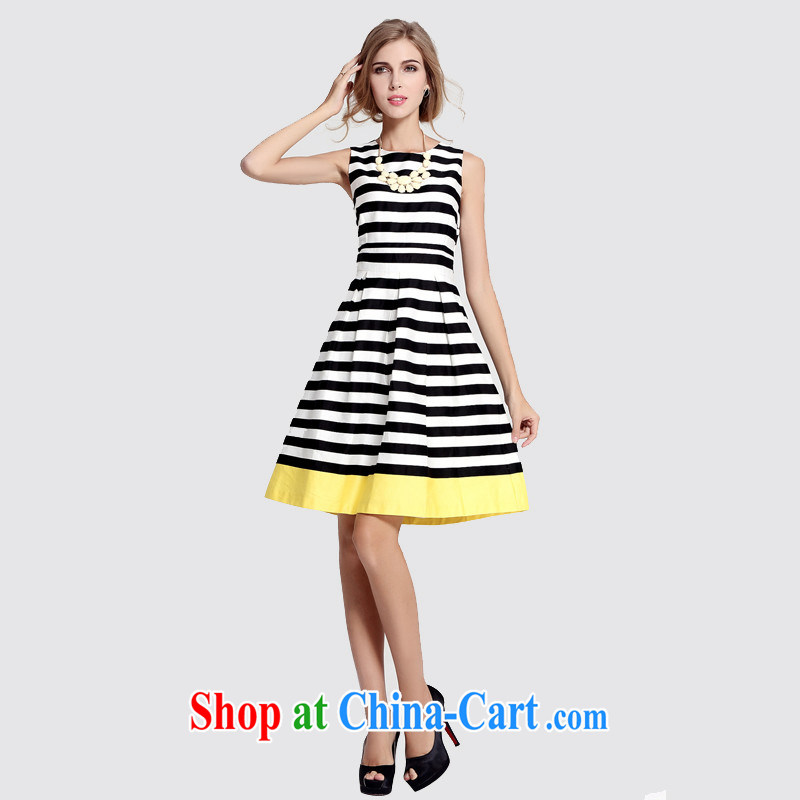 Sleeveless striped beauty large skirt white XXXL