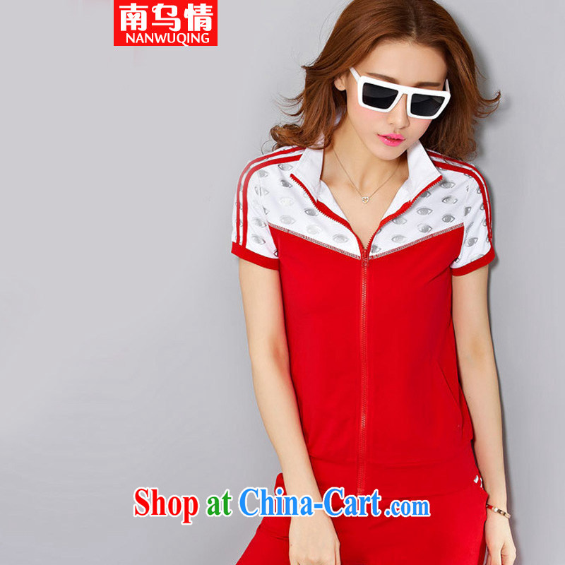The Ukrainian and 2015 summer decoration, with short-sleeved V collar, fashionable sports girls summer fashion on T-shirt, ladies leisure package GB red L