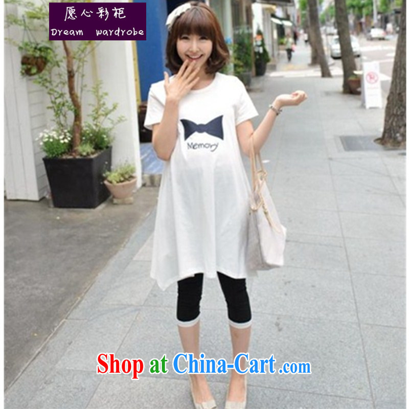 To Heart Color cabinet 2014 summer new Korean pregnant women long T shirt Bow Tie short sleeve does not rule out the pregnant T pension ll 153 white are code