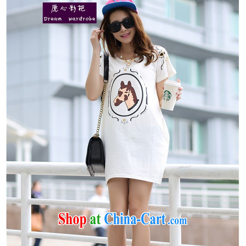 To Heart Color cabinet 2014 pregnant women with summer Korean version in the mirror the Stamp Duty pregnant women T-shirt short-sleeved pregnant T pension larger women by 6772 white L
