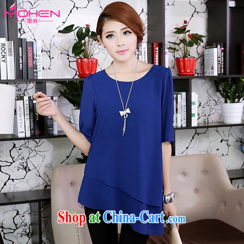 The ink marks on 2015 mm the fat increase, female autumn new Korean bubble cuff video thin ice woven shirts beveled edge facing the cuff in cultivating snow woven shirt blue 5 XL