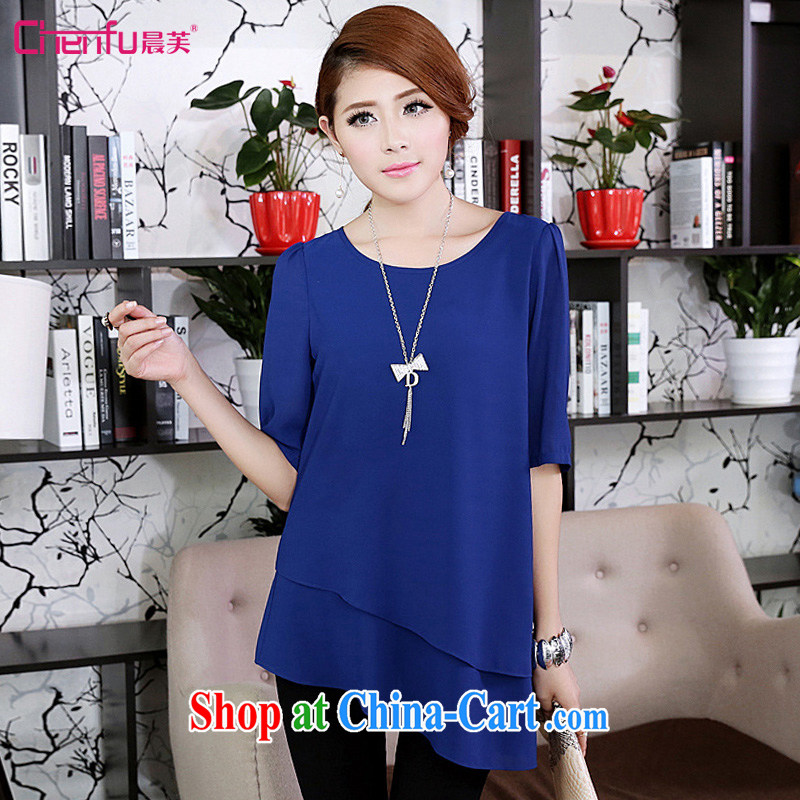 Morning would be 2015 Plus is indeed increasing, female fat mm spring new Korean version does not rule out the cuff in cultivating graphics thin ice woven shirts shirt T shirt large blue code XXL