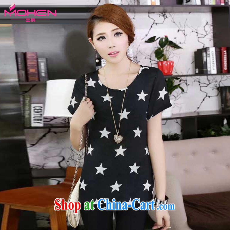 The ink marks on MM summer new 2015 Korean version stylish stars stamp duty relaxed T shirts female short-sleeved round-collar 5 star stamp duty on 100 female T-shirt black 5 XL