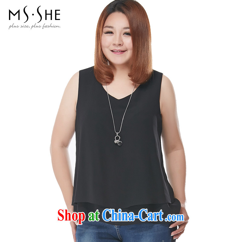 The MsShe indeed XL women 2015 summer new thick mm sleeveless straps small vest pre-sale 7480 black 3 XL