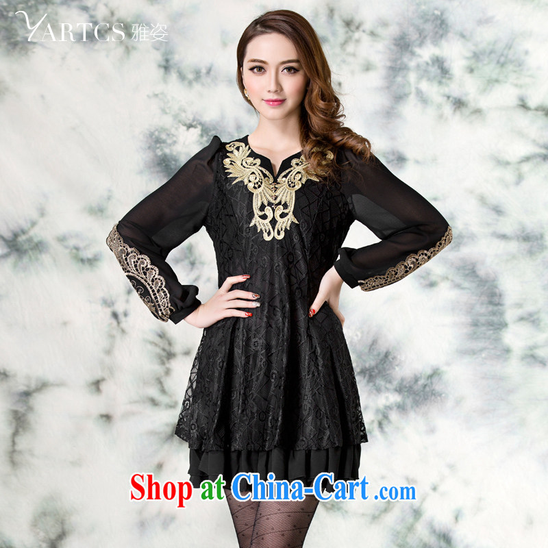 Jacob 2014 colorful new, larger female thick mm autumn Load Graphics thin long-sleeved embroidered lace dress A 5129 black 3 XL