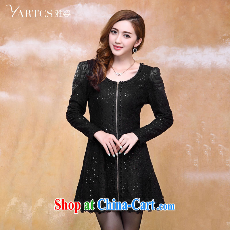 Jacob 2014 colorful larger women mm thick load fall dresses style graphics thin Korean thick sister dresses black XL