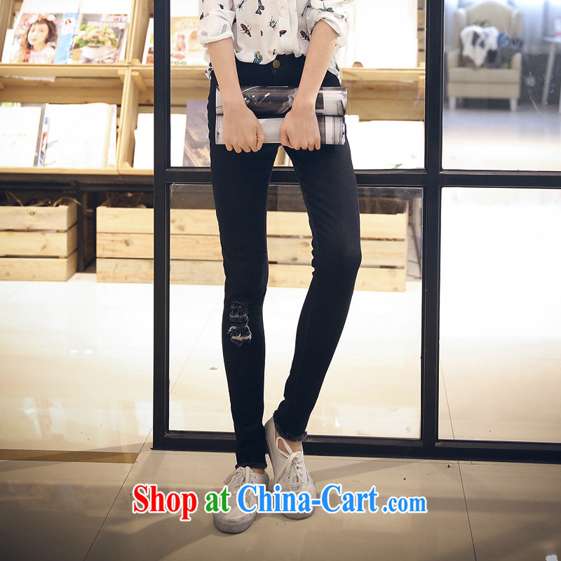 The Code's 2015 mm thick summer new Korean video thin washable ripped jeans Casual Trousers children black XXXXL