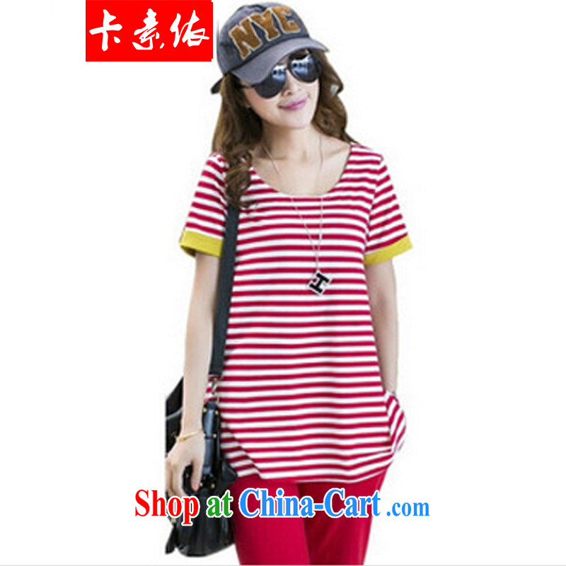 Card in accordance with our summer 2014 new stylish larger female liberal stripes short-sleeved T pension package fat people graphics thin sport and leisure package thick sister red 3XL 145 - 165 jack