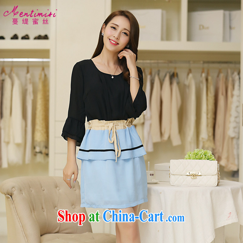 Mephidross economy honey, XL video thin woman with thick mm autumn and the New Korean elegant collision color stitching snow woven dresses 2640 black and blue the code 5 XL