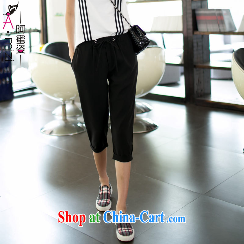 The honey and diverse summer new Europe and North America, the code is female with elasticated waist, with a casual relaxed snow 7 woven pants women 9013 black XXXXL
