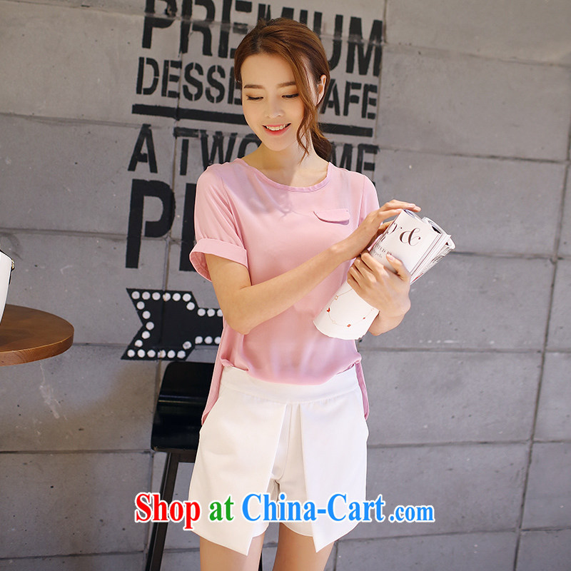 XL female 2015 mm thick summer Korean version of the new, thick sister graphics thin false pocket relaxed round-collar snow woven shirts Purple Pink XXXXL