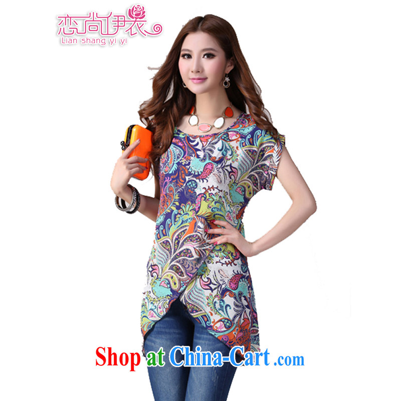 The delivery package as soon as possible by the fat increase, female snow woven shirts 2014 summer, Retro totem stamp short-sleeved gown thick mm video blue 3 XL approximately 155 - 175 jack