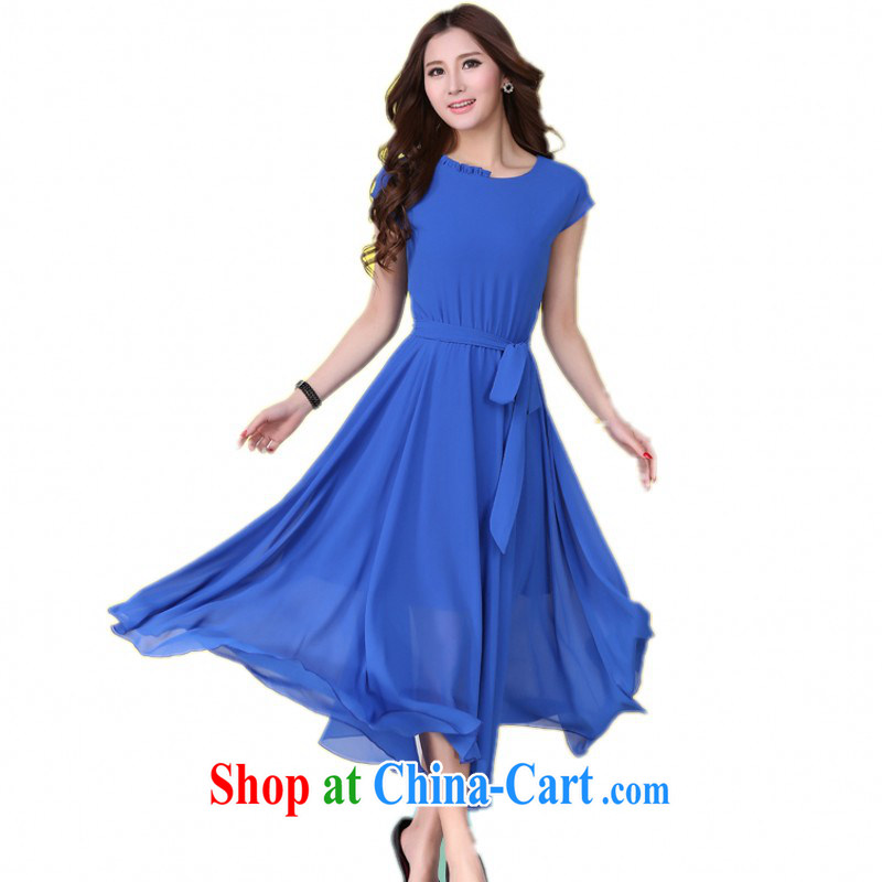The delivery package as soon as possible the 2015 summer is the XL skirts Solid Color snow woven large beach skirt thick mm elegance short-sleeve dress blue 5 XL about about 185 - 200 jack