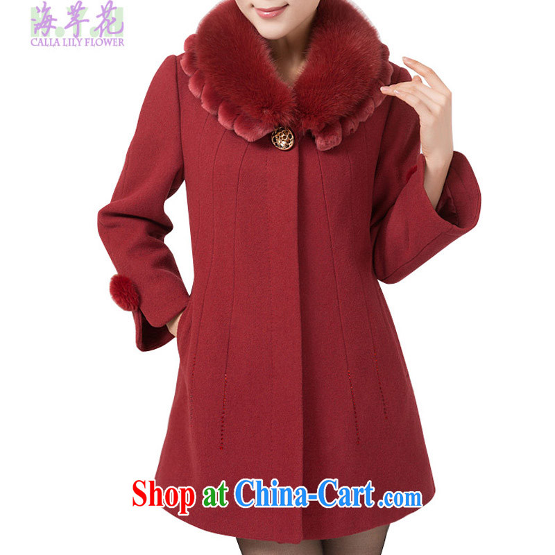 The line spend a lot code female winter new Korean video thin thick mm double gross manually for the flowers loose hair is thicker jackets warm 4173 - 6 , Red 4 XL