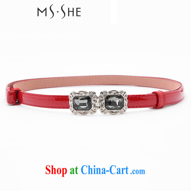 MSSHE larger female Korean version 100 ground water drilling thin belt stylish varnished leather larger lap belt decorations B 11 red 122 _ 1.3