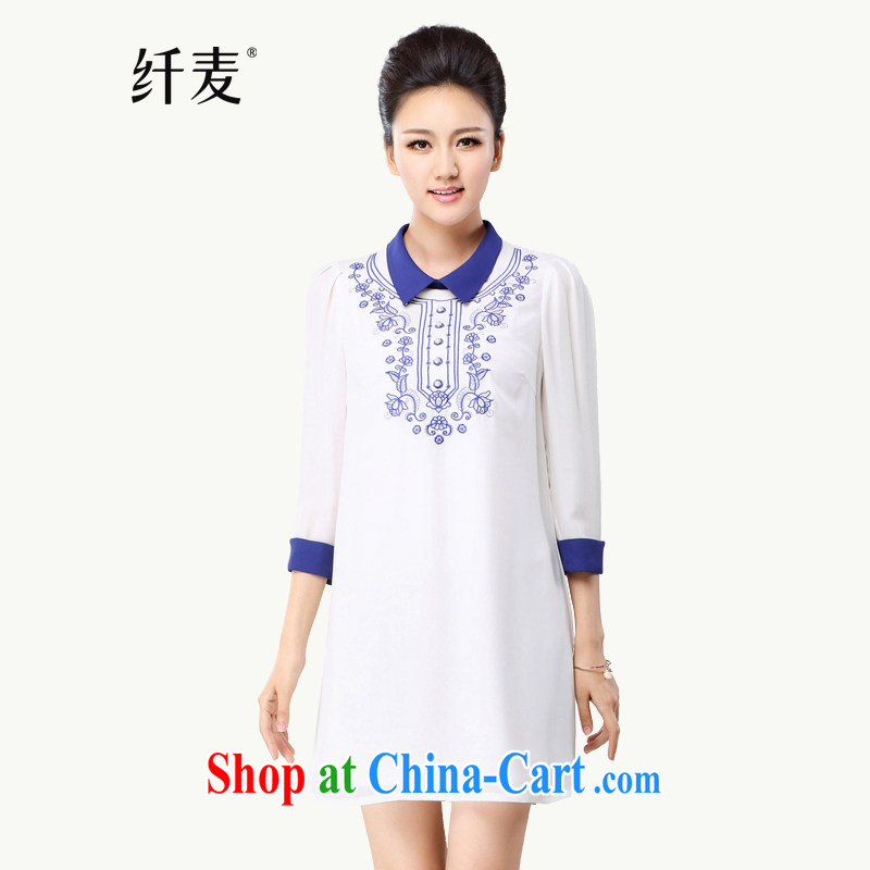 Slim, Mr Big, women fall 2014 with new thick mm stylish retro embroidery ethnic wind-yi skirt 43,022 white 6 XL