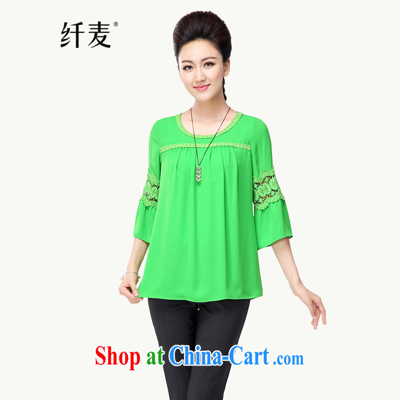 Slim, Mr Big, women fall 2014 with new thick mm stylish lace loose long-sleeved shirt T girl T-shirt 43,025 green 5 XL
