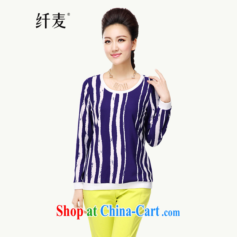 Slim, Mr Big, women fall 2014 with new thick mm stylish stripes style long-sleeved T-shirt T-shirt woman 43,035 royal blue 5 XL