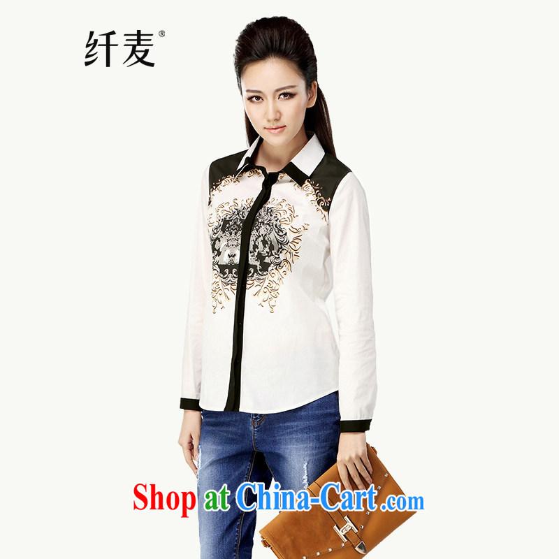 Slim, Mr Big, women fall 2014 with new thick mm fashion, long, Retro casual long-sleeved T-shirt white 43,051 3 XL