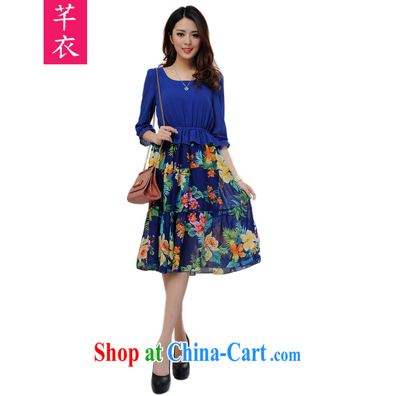 Constitution Yi XL dresses 2015 new summer bohemian beach snow skirt woven skirt thick sister stylish stitching stamp dresses holiday dresses blue spend 4 XL 155 - 170 jack