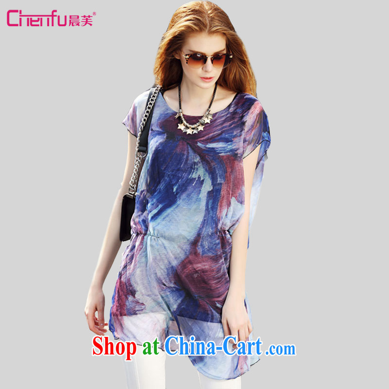 Morning would be 2015 summer new Europe and indeed the XL girls thick mm 100 to ground the waist graphics thin ink imagery to stamp duty, long snow T woven shirts T-shirt blue 4 XL