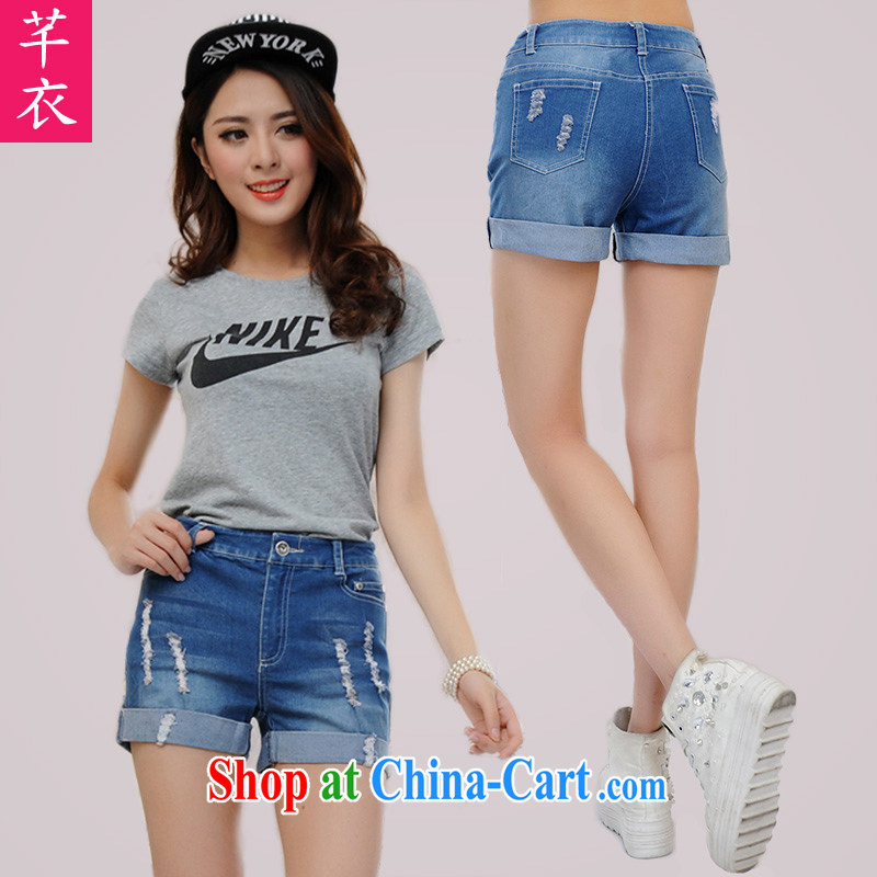 Constitution, XL girls denim jeans 2015 new Korean summer stylish sexy hot pants thick mm video long leg shorts thick sister denim hot pants blue 4 XL