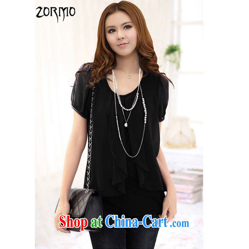 The ZORMO Code women Korean version snow cotton woven stitching long-sleeved T-shirt large, solid T-shirt high-tension on the MM thick XL snow woven shirts black short-sleeved 4 XL