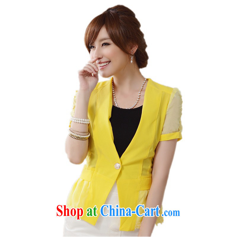 The delivery package as soon as possible e-mail in the Giant to increase code dress jacket 2014 summer short-sleeved commuter style graphics thin suit coat thick mm jacket 9910 yellow XXXL