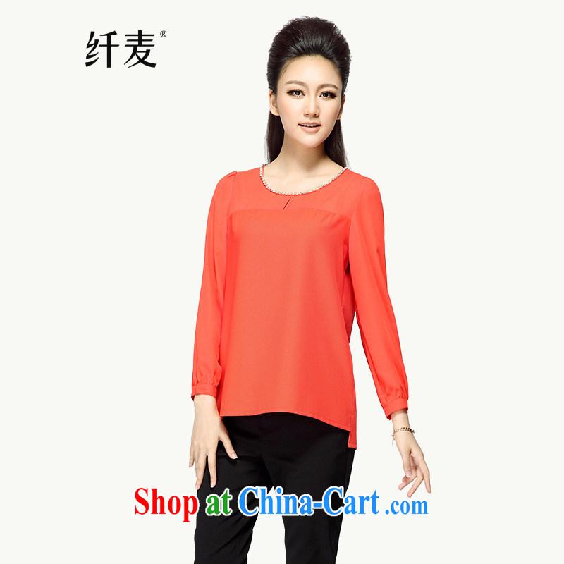 Slim, Mr Big, women fall 2014 with new thick mm stylish Korean lanterns sleeveless long-sleeved shirt T 43,085 red-orange 5 XL