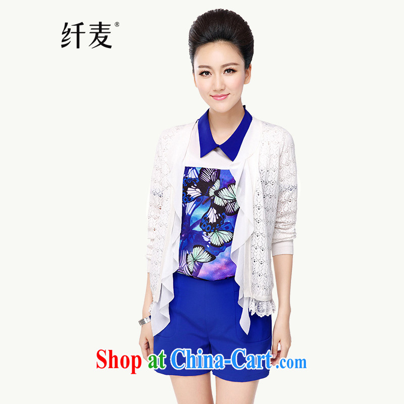 Slim, Mr Big, women fall 2014 with new thick mm video thin ice woven stitching cardigan knitted jackets S 13,077 white 3 XL