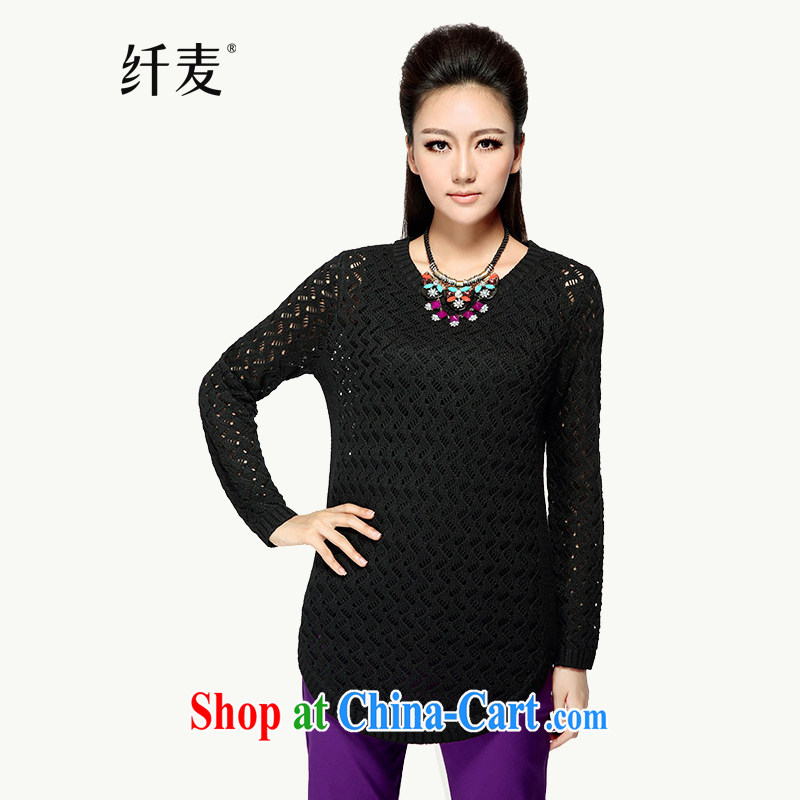 The Mak is the girl with 2014 new autumn loaded thick mm long, Openwork knitted T-shirt women T-shirt YF - 14,008 black 3 XL