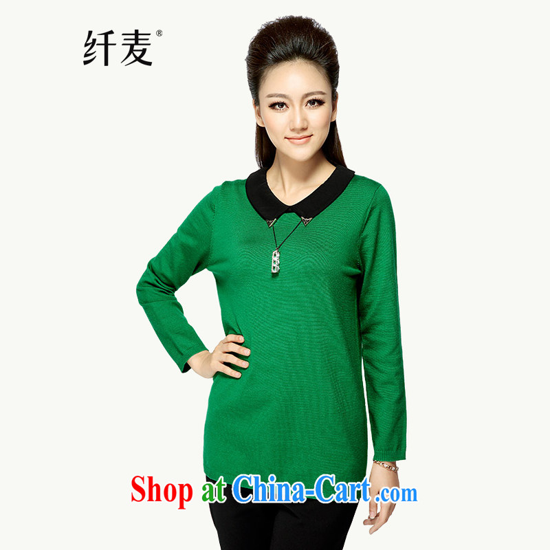 Slim, Mr Big, women fall 2014 with new thick mm video thin fashion doll collar long-sleeved sweater YF - 14,030 green 3 XL