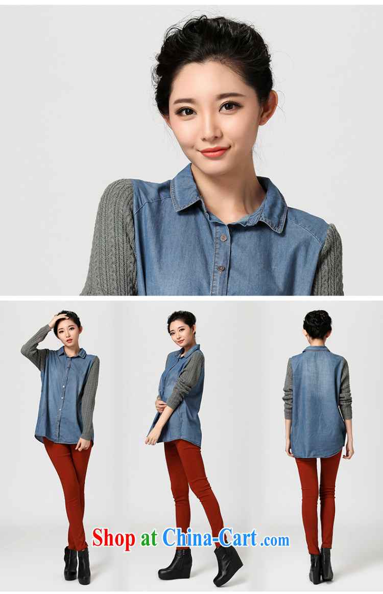 Water with cowboy stitching shirt fall 2014 new thick sister larger female sweet graphics thin shirt QC 2217 cowboy, XL pictures, price, brand platters! Elections are good character, the national distribution, so why buy now enjoy more preferential! Health